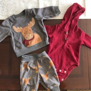 Newborn size holiday moose outfit set